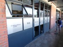 Sandblast vinyl being used for privacy, advertising and brand identification